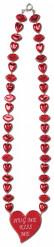 Colar vermelho bocas e corações São Valentim