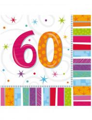 16 Guardanapos de papel 60 anos 33 x 33 cm