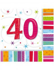 16 Guardanapos de papel 40 anos 33 x 33 cm