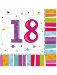 16 Guardanapos de papel 18 anos 33 x 33 cm