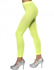 Collants sem pé verde fluo mulher