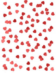 Confetis corações metalizados vermelhos