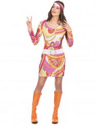 Disfarce hippie cor-de-rosa e cor de laranja mulher