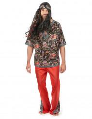 Disfarce de hippie vermelho homem