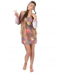 Disfarce de hippie vermelho e lilás mulher
