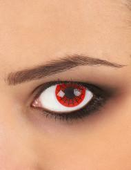Lentes fantasia teia de aranha preta e vermelha adulto Halloween