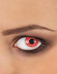 Lentes fantasia espiral vermelha e branca adulto
