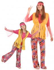 Disfarce casal hippie muticores para mãe e filha
