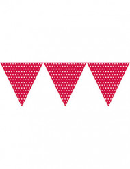 Grinalda de bandeirolas vermelha às bolas brancas
