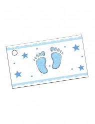 10 Etiquetas de papel pé azul Batizado menino
