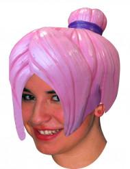 Peruca mangá cor de rosa adulto