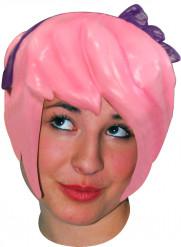 Peruca Latex mangá cor de rosa adulto