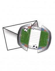 8 Convites com envelopes Estádio de futebol 15 x 10 cm