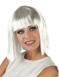 Peruca curta cabelos brancos mulher