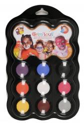 Palete de 9 cores para maquilhagem de animais Grim