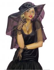 Luvas curtas renda preta mulher