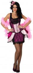 Disfarce dançarina de cabaret cor-de-rosa mulher