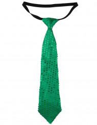 Gravata com lantejoulas verde adulto