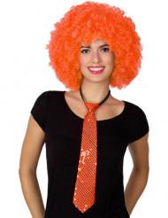 Gravata com purpurinas cor de laranja adulto
