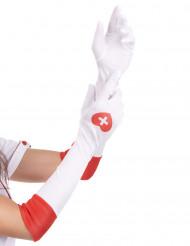 Luvas brancas enfermeira