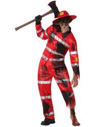 Disfarce bombeiro zombie homem Halloween