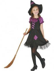 Disfarce bruxa violeta menina