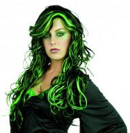 Peruca preta e verde mulher