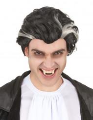 Peruca vampiro preta e branca.