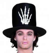 Chapéu alto mão esqueleto adulto Halloween