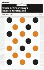 50 sacos para rebuçados transparentes as bolas cor de laranja e pretas Halloween