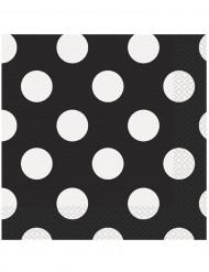 16 Guardanapos de papel pretos às bolas brancas