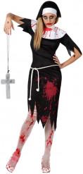 Disfarce freira zombie mulher Halloween
