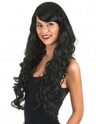 Peruca glamorosa comprida preta com caracóis mulher