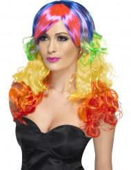 Peruca encaracolada colorida mulher