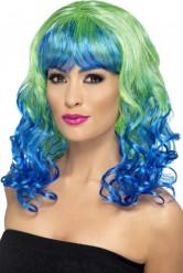 Peruca encaracolada azul e verde mulher