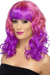 Peruca encaracolada cor-de-rosa e roxa mulher