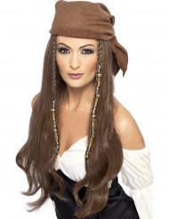 Peruca pirata castanha e longa - mulher