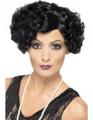 Peruca cabaret ondulada preta mulher