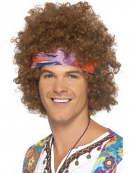 Peruca afro hippie castanha homem