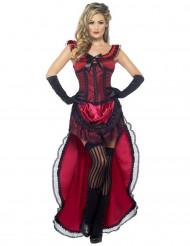 Disfarce dançarina saloon sexy vermelho mulher