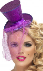 Mini chapéu alto lilás mulher