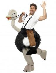 Disfarce de homem a montar uma avestruz