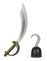 Kit pirata com sabre e gancho