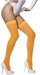 Meias cor de laranja fluo mulher