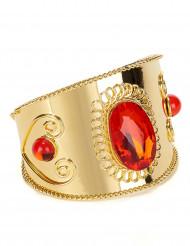 Pulseira dourada com pedrasvermelhas