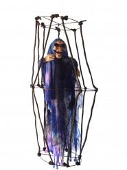 Decoração para pendurar esqueleto luminoso numa gaiola
