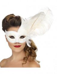 Mascarilha veneziana branca com penas brancas adulto