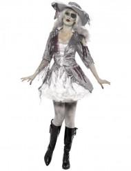 Disfarce fantasma pirata mulher para Halloween