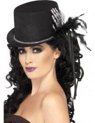 Chapéu alto preto com mão de esqueleto e penas para mulher Halloween