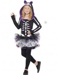 Disfarce esqueleto gato violeta menina Halloween